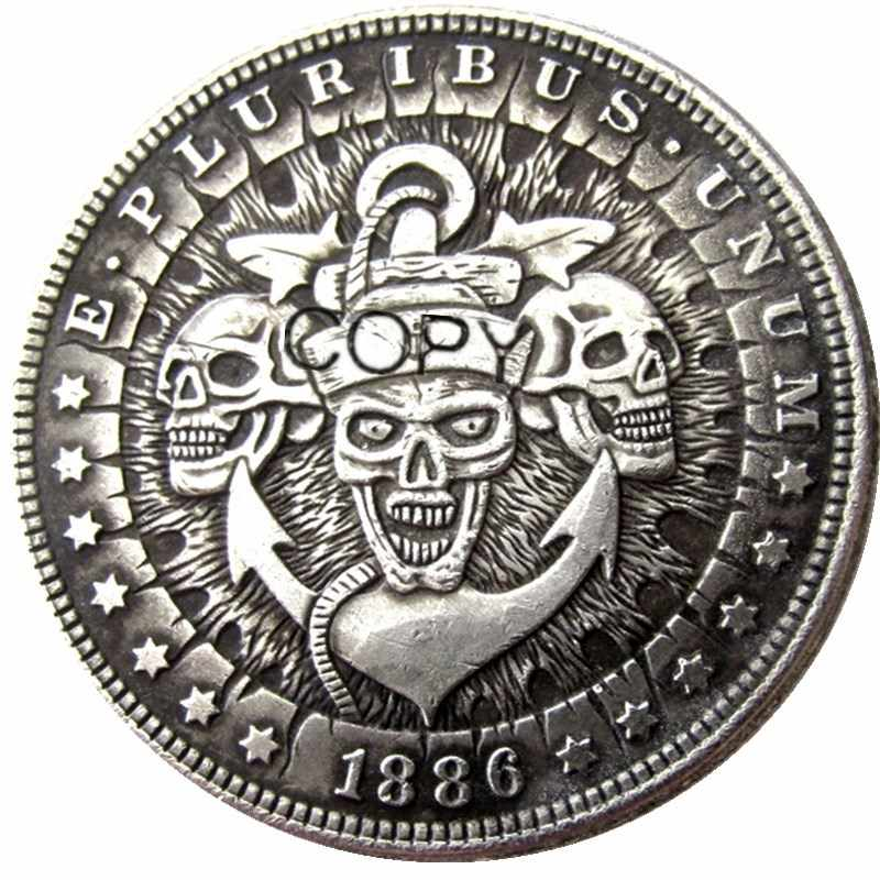 ONS Hobo 1886 Morgan Dollar skull zombie skeleton Verzilverd Kopie Munten