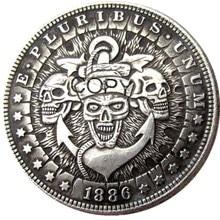 US Hobo 1886 Morgan Dollar skull zombie skeleton Silver Plated Copy Coins