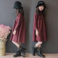 Dresses for Girls Winter Fall Korean Teenager Girl Loose Turtleneck 4 To 14 Years Christmas Red Dress Halloween Costume Girl