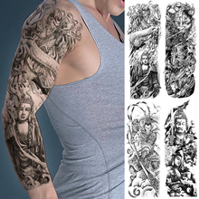 Большая Рука Рукав Татуировки Дракон Король Обезьян Будда Водонепроницаемый Временные Поддельные Татуировки Наклейки Череп Японский Мужчины Женщины Полный Татто