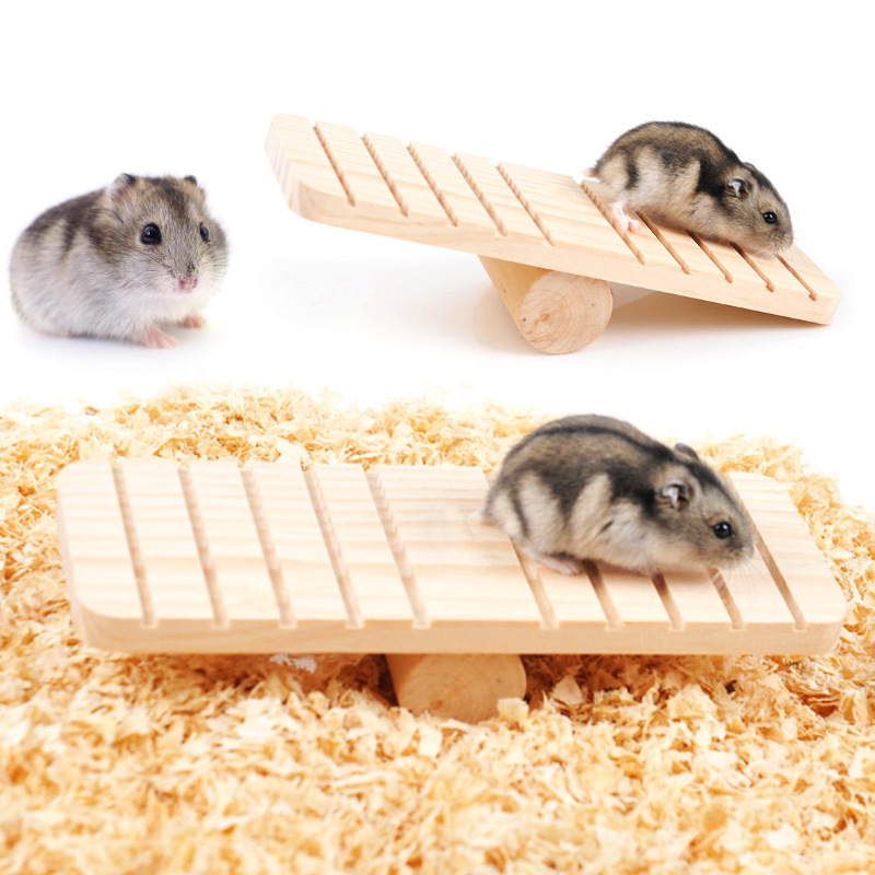 Pet Hamster Toys Wood Seesaw Funny Rat Mouse Chinchillas Guinea Pig Small Animal Toy Play House Exercise Toy Pet Supplies