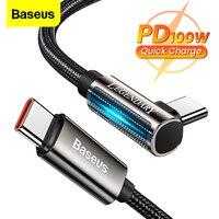 Baseus PD 100W USB tipo C a USB C cavo 5A ricarica rapida caricabatterie USB-C 90 gradi data cavo per Xiaomi Samsung S21 tipo-c cavo
