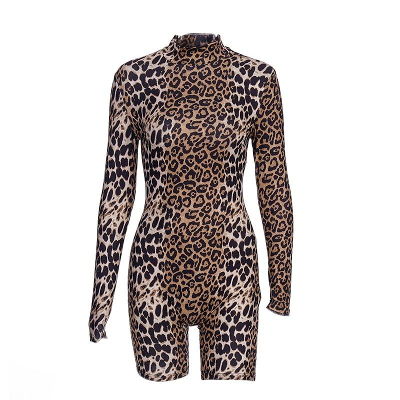 New Long Sleeve Leopard Print Sexy Bodycon Playsuit Autumn Winter Women Streetwear Club Body Fall Cute