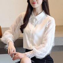 белая кружевная блуза рубашка отложной Женская одежда 2019 Модные