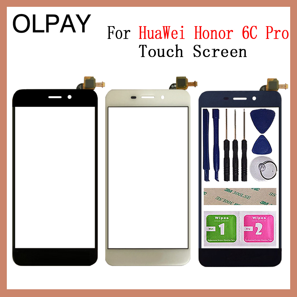 OLPAY Touch Screen For HuaWei Honor 6C Pro JMM-L22 Touch Screen Digitizer Panel Front Glass Lens Sensor Tools Adhesive+Wipes