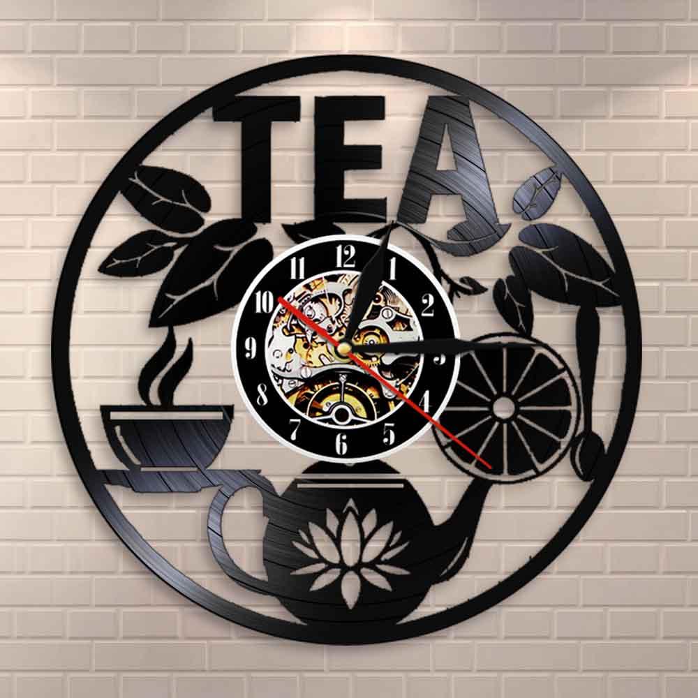 Tea Time Wall Decor Tea Pot Design Wall Clock Drink Tea Vinyl Record LP Clock Decorative Hanging Watch Tea Lovers Room Decor