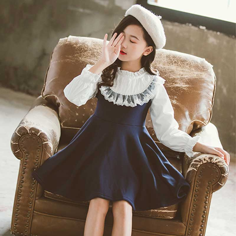 Back To School 2019 New Girls Clothing Dress Baby Casual Dress Kids Patchwork Fall Clothes Children Long Sleeve Dress Blue White 5