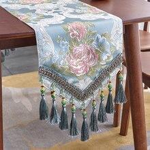 Camino de mesa de lujo europeo clásico Vintage Jacquard borla camino de mesa TV gabinete cubierta paño mesas de café decoración de tela