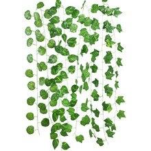230cm Green Plant Decor Green Silk Artificial Hanging Ivy Leaf Garland Fake Vine Leaves