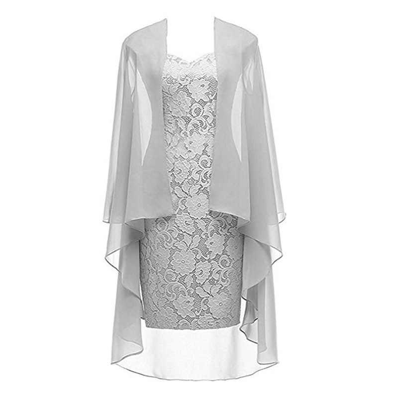 Wipalo 2019 Chiffon de talla grande moda femenina dos piezas de encaje hasta la rodilla vestidos elegantes para fiesta vestidos de novia 5XL