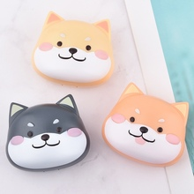 Portable Contact Lens Case With Mirror Simple Contact Lenses Box Eyes Cute Dog Contact Lens Container Lovely Travel Kit Box luxury roundness contact lens case color water eye lens box popular travel lens case contact with mirror
