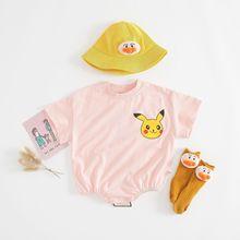 Cute Baby clothes ropa bebe Cotton Pikachu Cartoon baby boy short sleeve Romper boy girl jumpsuit