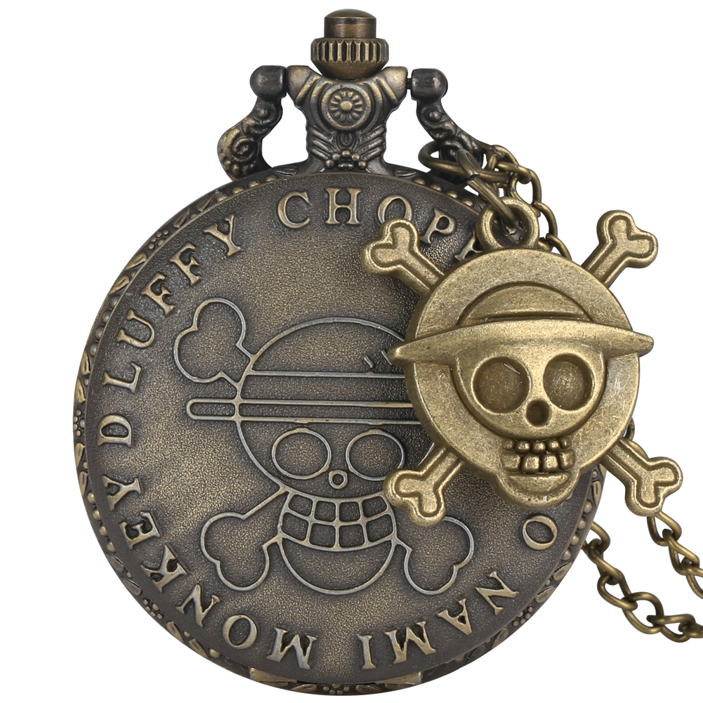 Pocket Watch Quartz Fashion One Piece Pattern Steampunk Necklace Chain Pendant Watches Hours Clock Nice Gift For Men Women