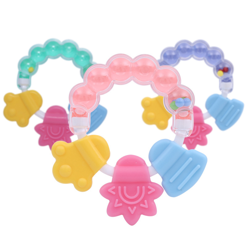 Cartoon Baby Teether Baby Teething Stick Toddler Educational Mobiles Toys Teeth Biting Baby Silicone Rattle Teether Molar Rod