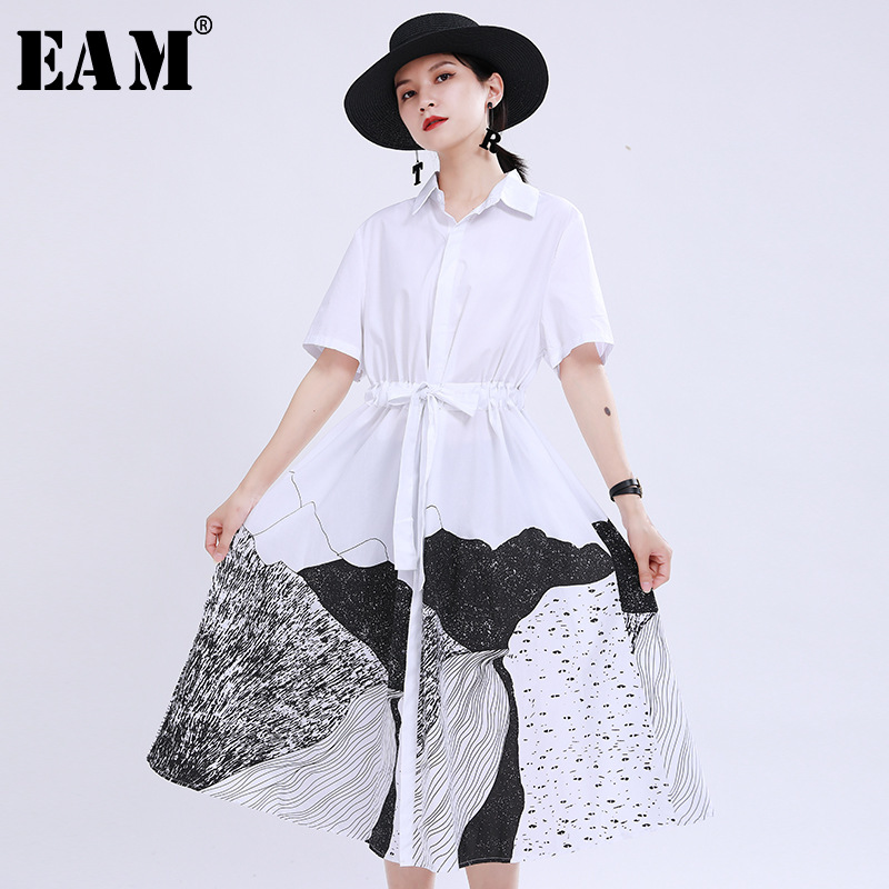 [EAM] Women Black Patttern Printed Drawstring Shirt Dress New Lapel Short Sleeve Loose Fit Fashion Tide Spring Summer 2020 1U172