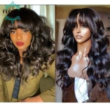 Wavy Human Hair Wig With Bangs O Scalp Top Full Machine Wigs Loose Wave 22
