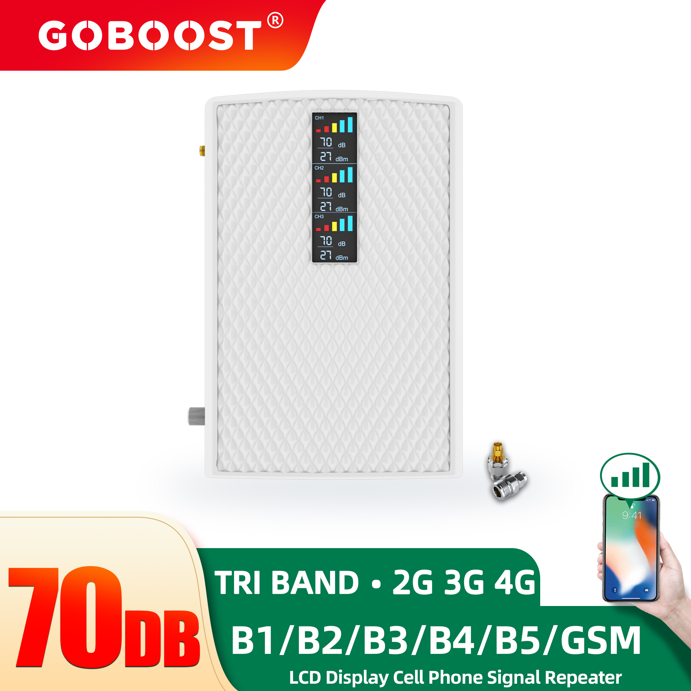 GOBOOST 3G 4G Cellular Repeater Tri Band 850 900 1800 2100 1900 1700 Mhz LTE Signal Amplifier Cell Phone Booster GSM PCS Display