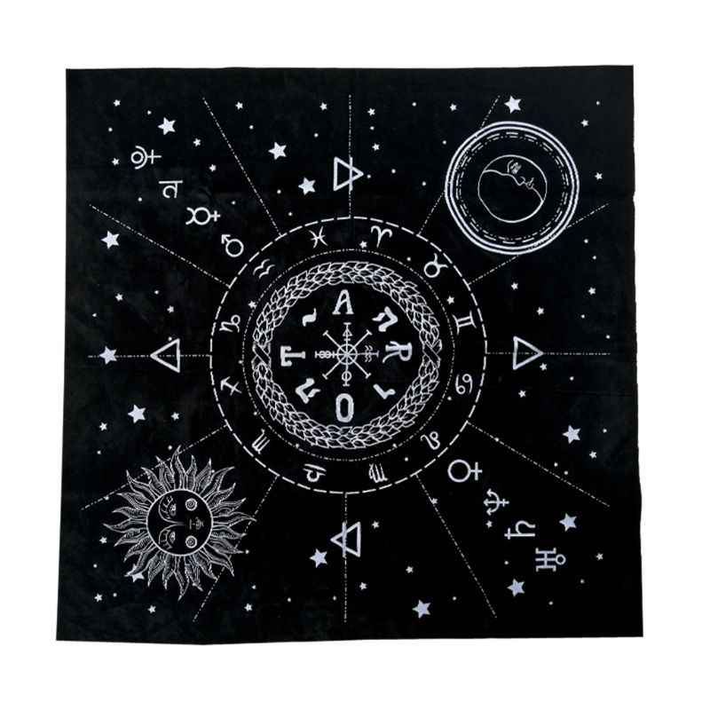Pc 49*49 ซม.Tarot Tablecloth สิบสอง Constellations Sun Moon Pentagram Pagan แท่นบูชา Divination เกม Tarot ผ้า Flannel