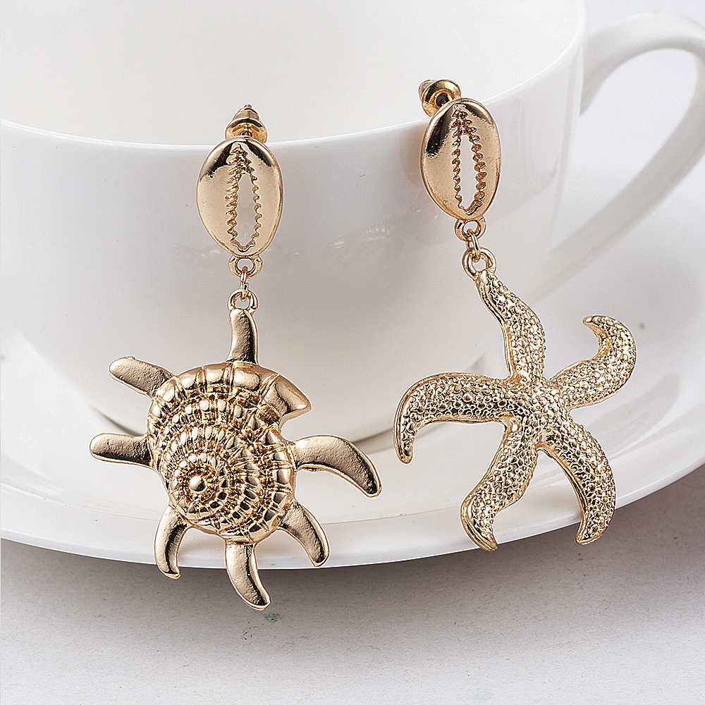 2019 New Fashion Boho Women Bohemian Style Gold Starfish Conch Cowary Shell Big Circle Drop Earrings Shell Dangle Earrings