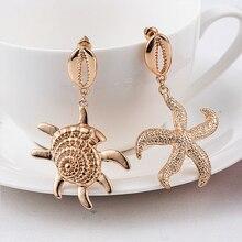 2019 New Fashion Boho Women Bohemian Style Gold Starfish Conch Cowary Shell Big Circle Drop Earrings Dangle