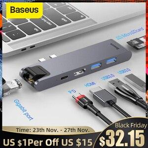 Image 1 - Baseus adaptateur Dock USB type c vers Multi USB 3.0, adaptateur HDMI, HUB pour MacBook Pro, accessoires informatiques, séparateur USB C