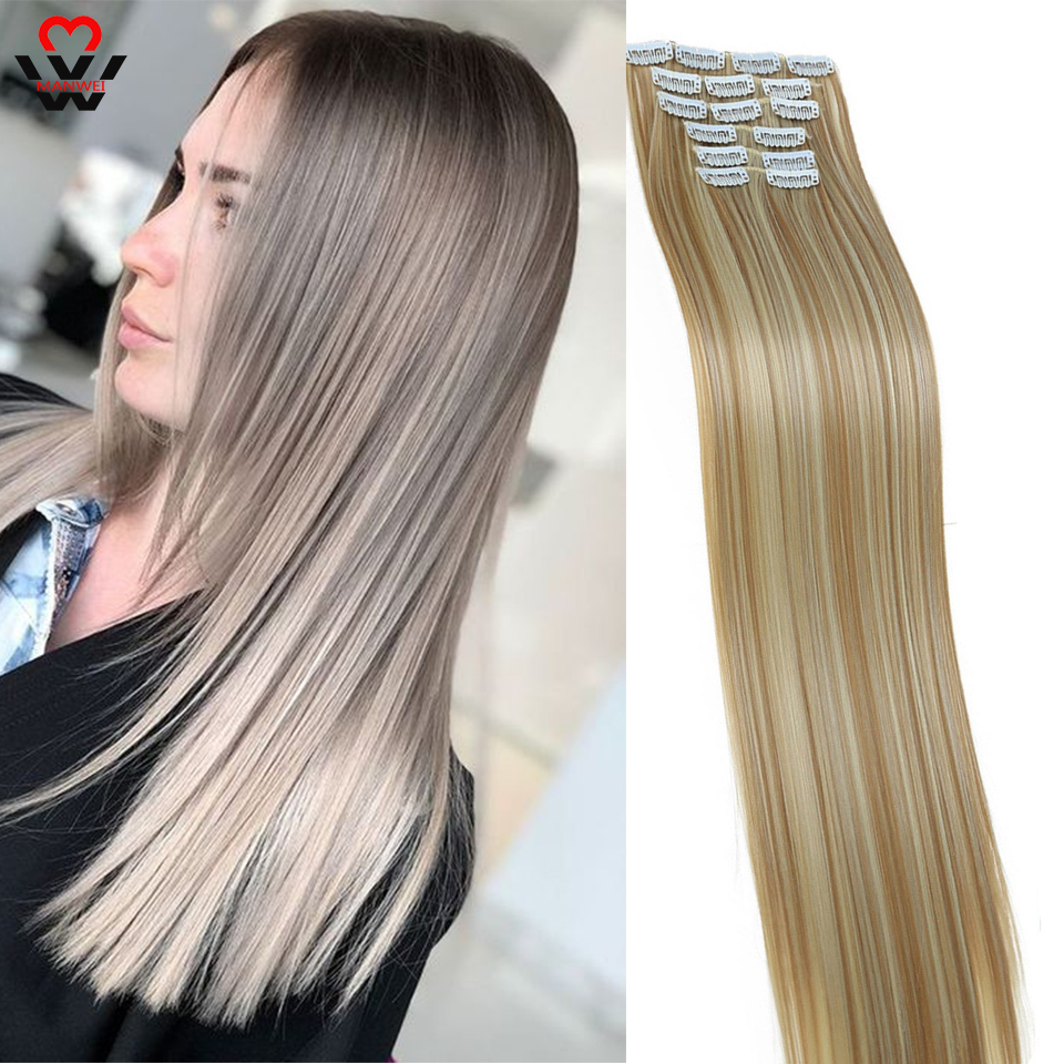 MANWEI 16 Clips 22 Inch Long Straight Clip In On Hair Extensions Real Synthetic  Wig  Black Brown Red