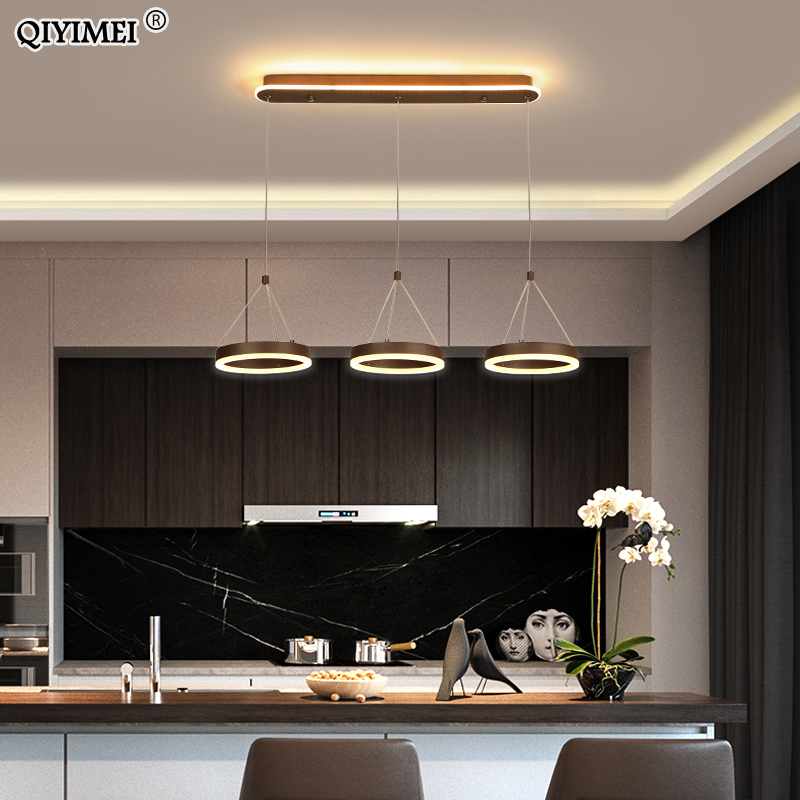 Coffee Led Pendant Light Kitchen Dinning Room Backside Lighting 3 Heads Round Acrylic Lamp Lustres Luminaire Indoor Fixtures