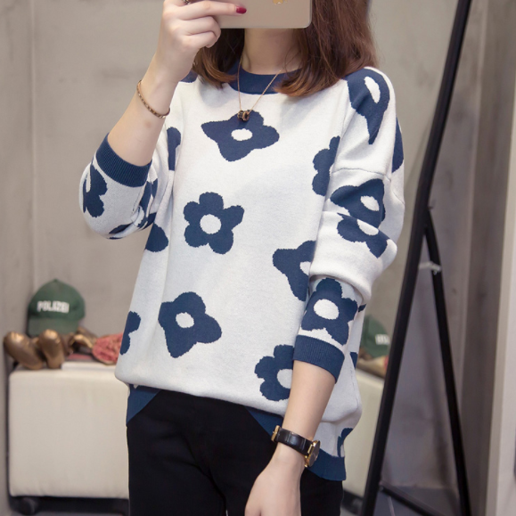 plus size o neck knitted tops for women loose printing pullover sweaters jumper oversize knitwear fall winter clothes DA990