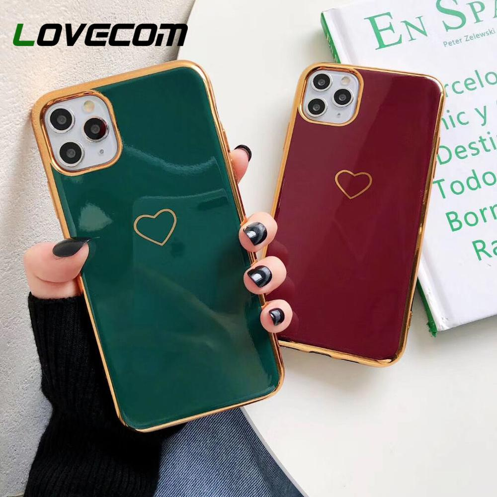 LOVECOM Solid Color Electroplated Heart Phone Case For IPhone 11 Pro Max XR XS Max 7 8 6 6S Plus X Soft TPU Back Cover Gifts