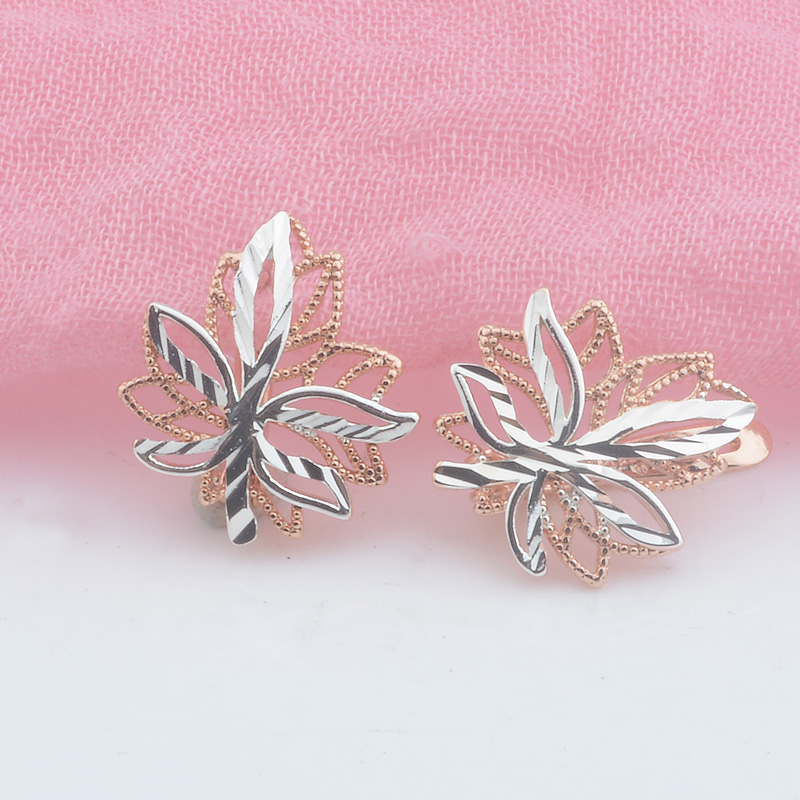 FJ 2 Style White 585 Rose Gold Color Leaf Shaped Plant Earrings Stud Earrings GIft