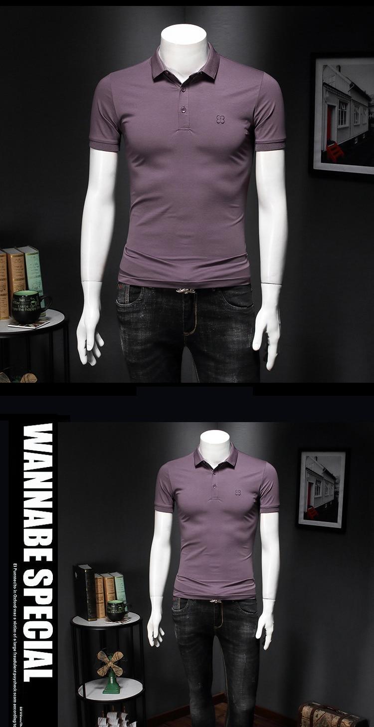 Camisas polo bordadas masculinas, camisetas de manga