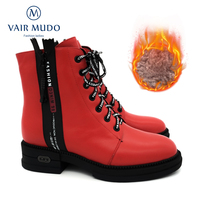 VAIR MUDO Ankle Boots Shoes Women Red Lace up Thick bottom Women Boots Genuine Leather Adult casual Shoes Lady Wool Winter DX72