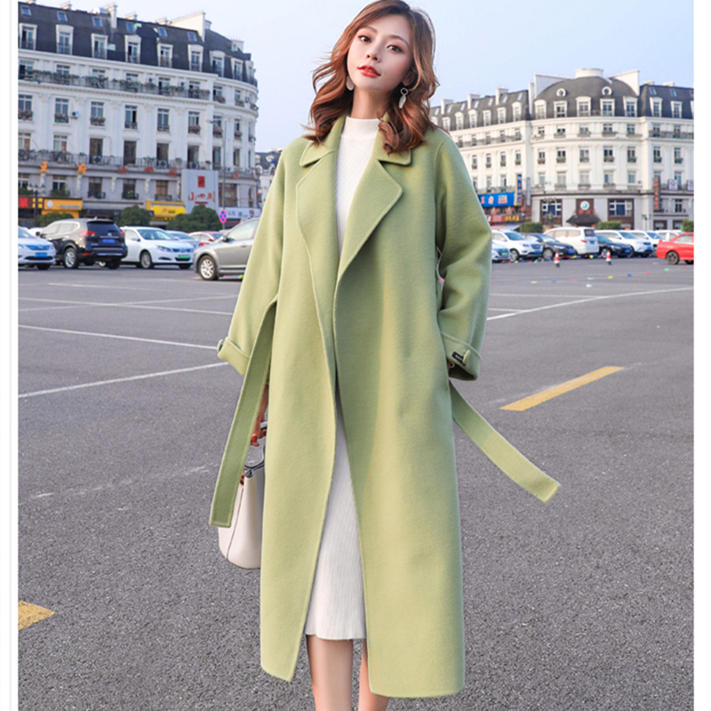 NEW Autumn Winter Coat Women Woolen Coats With Belt Overcoats Long Section Windbreaker Wool Jackets Outerwear