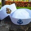 Белые детские моряки, корабль, лодка, капитан, шляпа, морской флот, кепка с якорем, море, катание на лодках, морское причудливое платье, шляпа ...