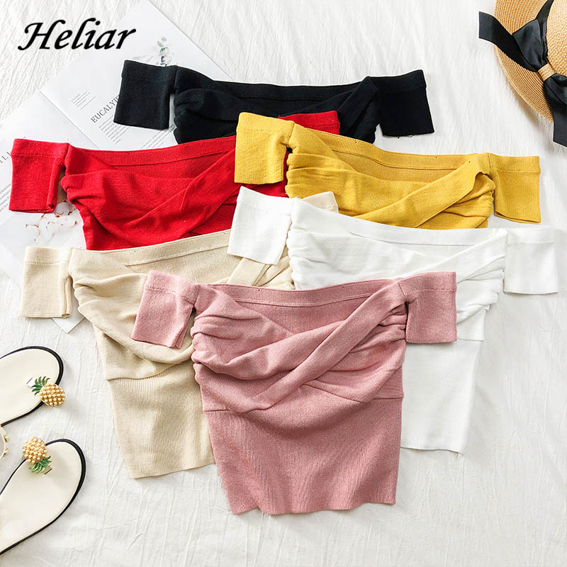 Heliar 2020 Summer Tied Knitting Sweater Women Sexy Solid Pleated Crop Sweater Small Size Highstreet Tees Sweaters For Women