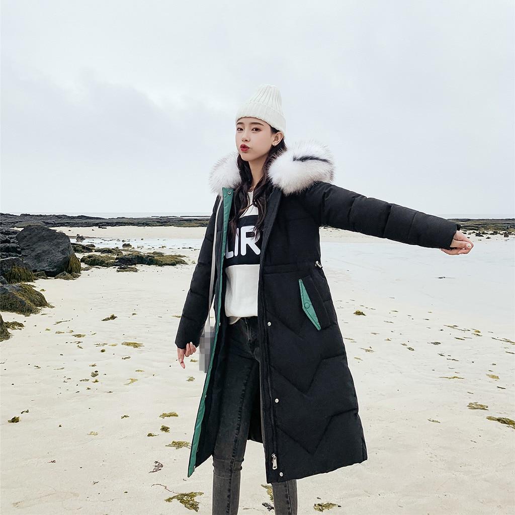 CHICEVER paski damskie zimowe kurtki z kapturem z długim