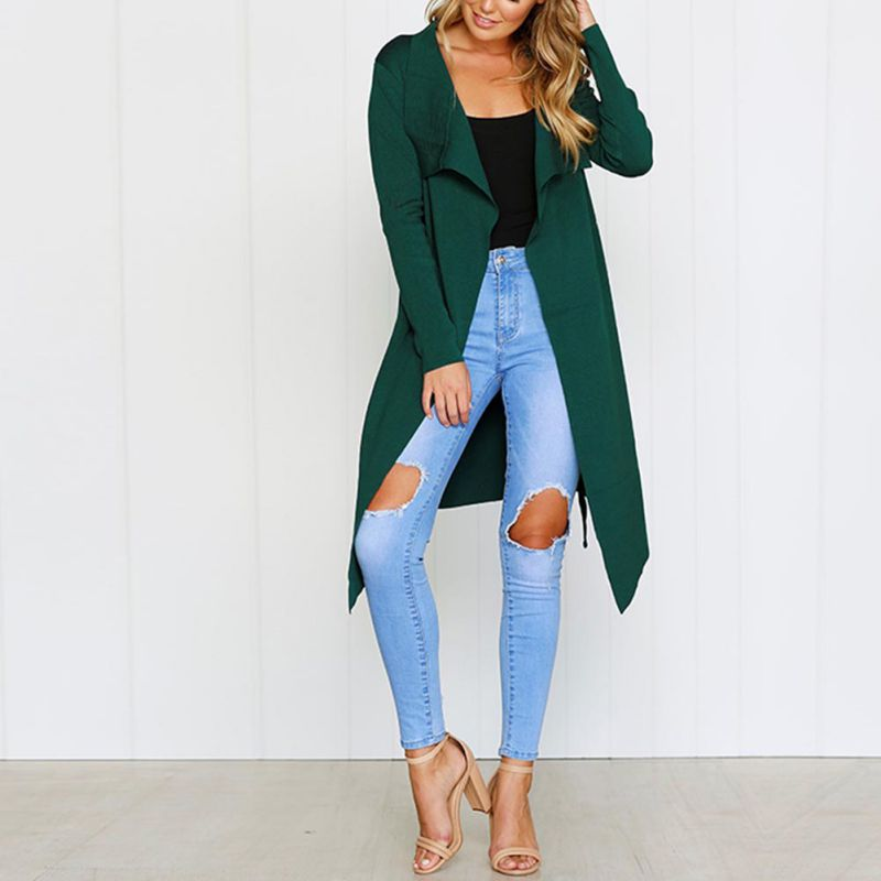 Women Autumn Winter V-neck Long Full Sleeve Lengthened Double Layer Slim   Trench   Adjustable Waist Cardigan Warm Coat
