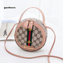 2019 factory wholesale ladies fashion GD embossing contrast color round bag  shoulder crossbody