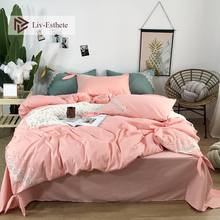 Liv-Esthete Luxury 100% Silk Lace Bedding Set Silky Printed Duvet Cover Soft Flat Sheet Double Queen Bed Linen For Beauty Girl