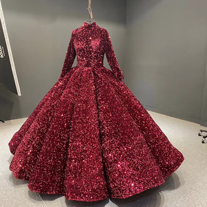 Image 3 - J66991 Jancember Formal Dress For Teenagers High Neck Long Sleeve Sequined Red Quinceanera Dresses 2020