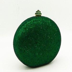 Image 2 - Boutique De FGG Elegantผู้หญิงคริสตัลสีเขียวรอบบอลกระเป๋าถือคลัทช์สำหรับงานแต่งงานเพชรBagกระเป๋าถือ