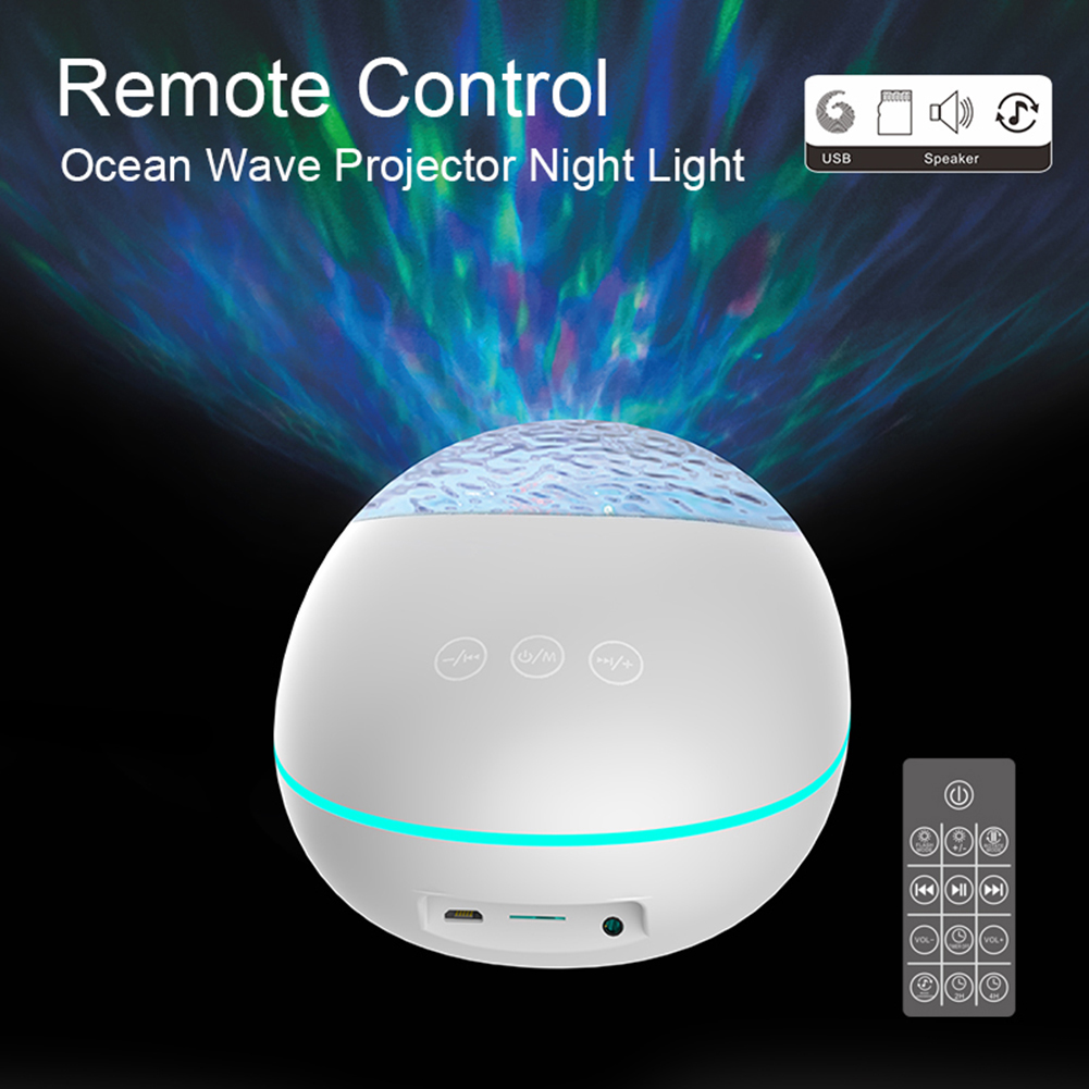 USB LED Ocean Wave Projector Light Bluetooth Music Player 7 Modes Ocean Water Ripple Projection Lamp Children's Night Light