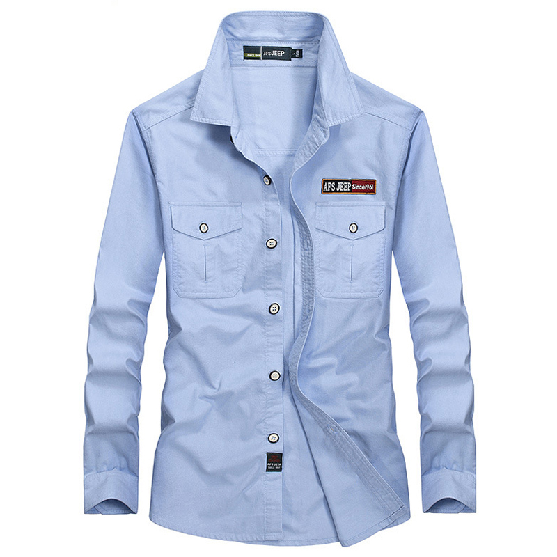 AFS JEEP Brand Shirt Men Casual Shirts Pure Cotton Military Shirt Solid Big Size 5XL Shirt Men Camisa Masculina Chemise Homme
