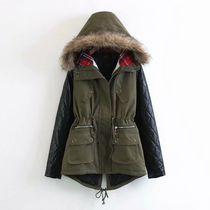 Winter Europe And America Hot Selling Coat Large Size Slim Fit Hooded Fur Collar Fight Skin Mid-length Cotton-padded Clothes Wom