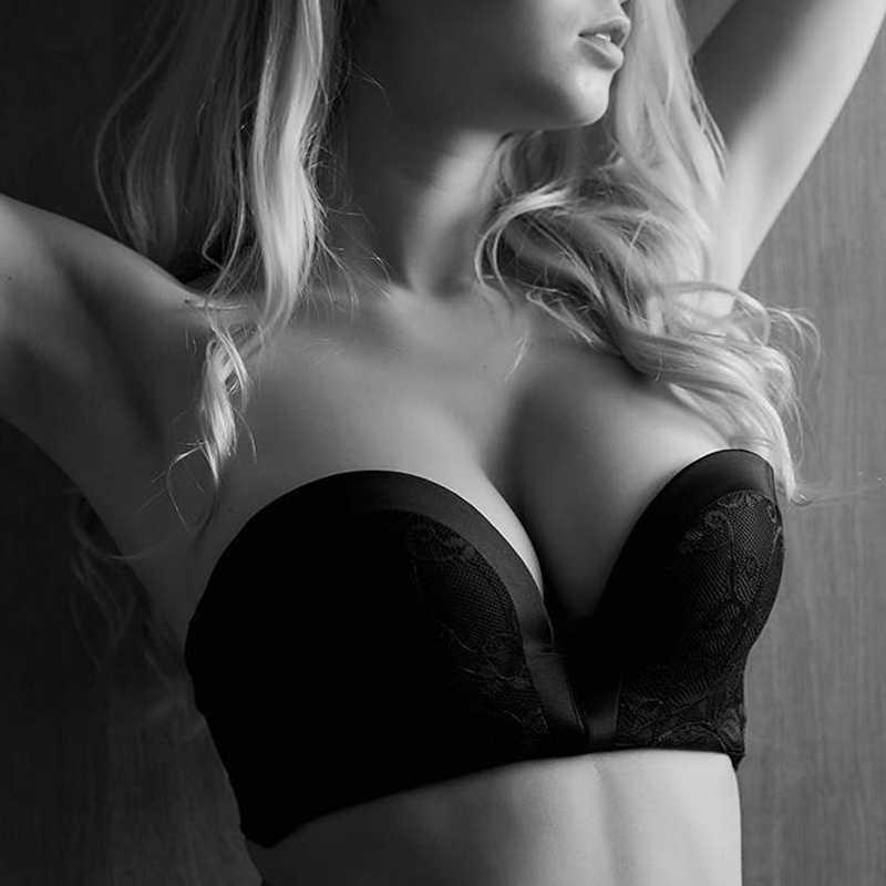 Кружевной женский бюстгальтер без бретелек для платья, беспроводной супер пуш-ап невидимый бюстгальтер без спинки, сексуальный бюстгальтер без швов нижнее белье, топы