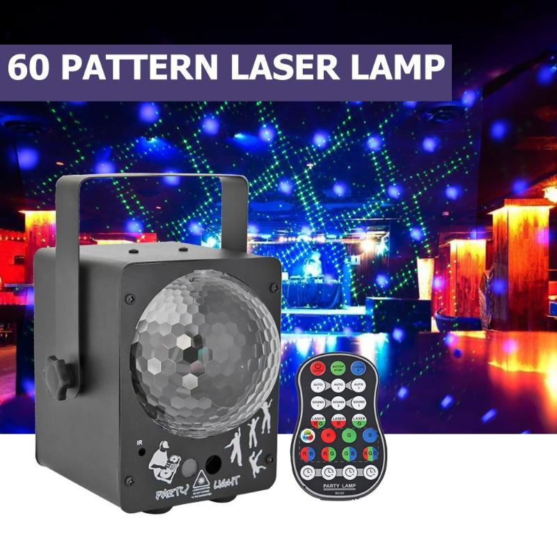 Laser Projektor LED Bühne Licht Sound Aktiviert Disco Beleuchtung Ball Lampe