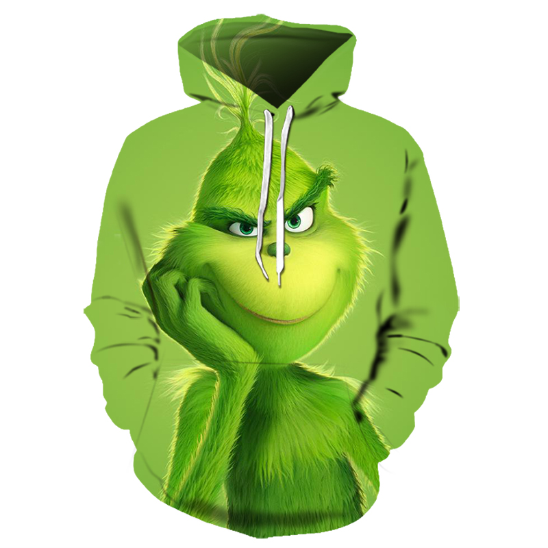 2019New Hot Man's Women 3d Green Monster Grinch Mascot Hoodie Grinch Sweatshirt Christmas Stole For Girls Stray Kids Hoodies 6xl