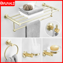 Bathroom Stainless Steel Towel Holder Bar Sets Brushed Gold Rack Coat Hook Soap Dish Toilet Paper with Shelf