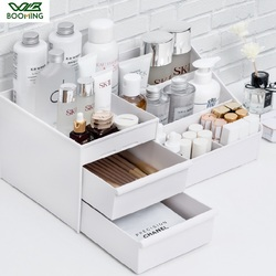 Wbbooming cosméticos caixa de armazenamento gaveta desktopplastic maquiagem penteadeira cuidados com a pele rack casa organizador recipiente de jóias