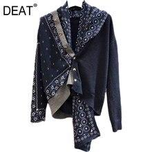 DEAT nouveau automne mode femmes Cardigan pull casual soie Patchwork à manches longues écharpe col en vrac élégant sauvage mince MX127
